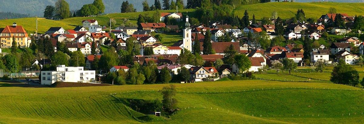 Scheidegg im Allgäu Ortsansicht mit Berge