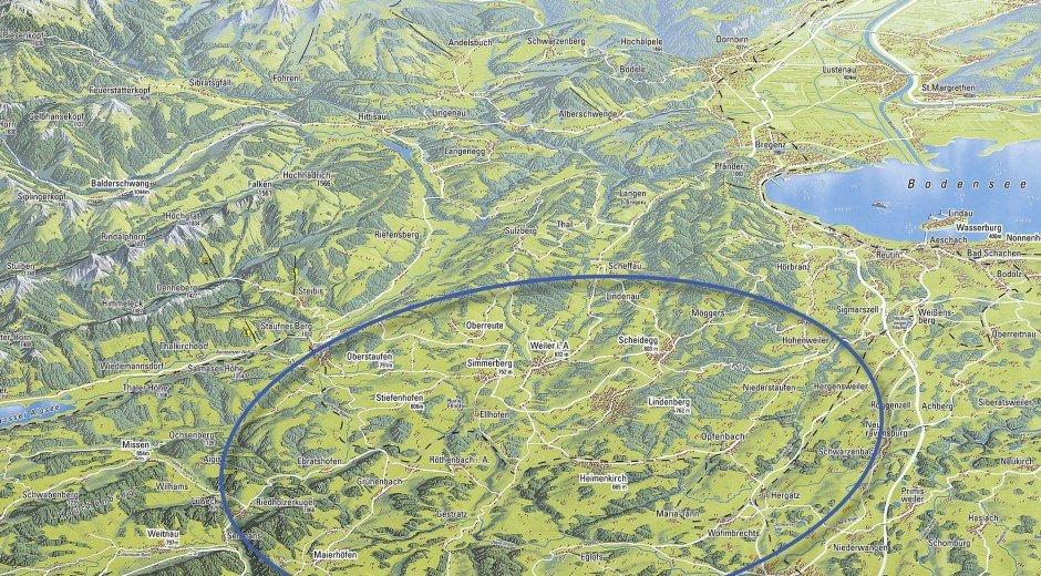 Übersichtskarte Westallgäu in 4 zu 3