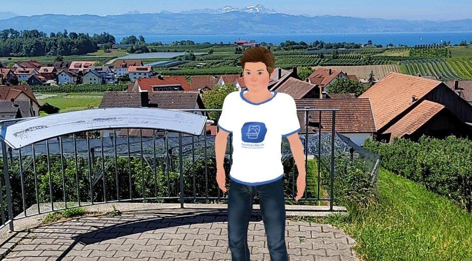 Avatar Max aus der FacettenReich-App steht vor Panoramablick