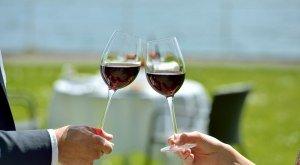 Genussherbst Bodensee Weingläser mit See im Hintergrund
